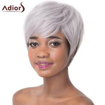 Attractive Light Gray Straight Capless Short Haircut Heat Resistant Synthetic Women's Adiors Wig