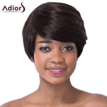 Elegant Black Brown Short Haircut Capless Straight Side Bang Synthetic Adiors Wig For Women