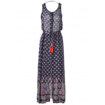 Fashionable Scoop Neck Printing Sleeveless Backless Maxi Dress For Women