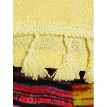 Stylish Women's Fringed Tank Top + Striped Skirt Twinset - YELLOW M