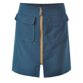 Zipper Simple Skirt For Women - BLACKISH GREEN S
