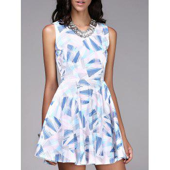Trendy Sleeveless Round Collar Slimming Geometric Print Women's Dress