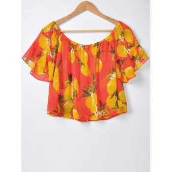 Sweet Women's Slimming Boat Neck Fruit Printing Blouse - RED L