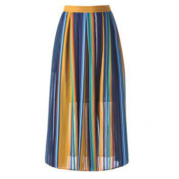 Women's High Waisted Stripe Midi Skirt