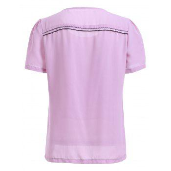 Brief Women's Scoop Neck Short Sleeve Chiffon T-Shirt - LIGHT PURPLE ONE SIZE(FIT SIZE XS TO M)