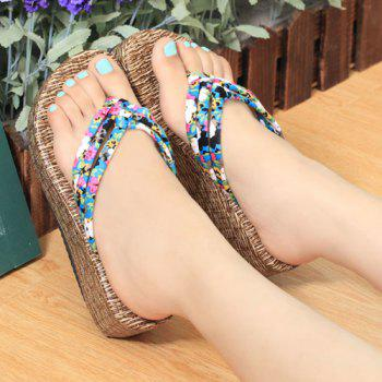 Sweet Platform and Tiny Floral Print Design Women's Slippers - 38 38