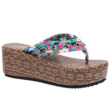 Sweet Platform and Tiny Floral Print Design Women's Slippers