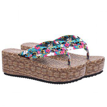 Sweet Platform and Tiny Floral Print Design Women's Slippers - BLUE BLUE