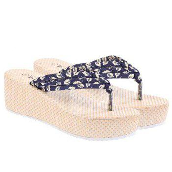 Simple Color Block and Leaf Pattern Design Women's Slippers - 38 38