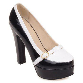Trendy Hit Color and Buckle Design Women's Pumps