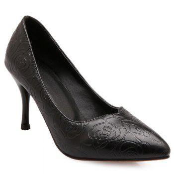 Fashionable Solid Colour and Rose Embossing Design Women's Pumps