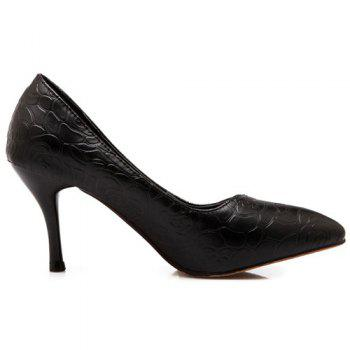 Fashionable Solid Colour and Rose Embossing Design Women's Pumps - BLACK 38
