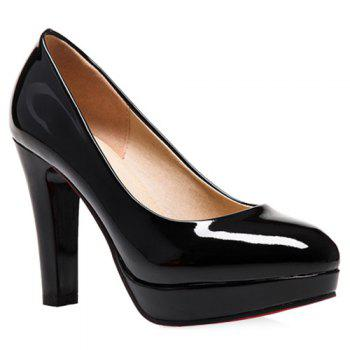 Elegant Round Toe and Chunky Heel Design Women's Pumps
