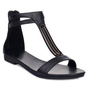 Sandals Zip Concise et talon plat design Femmes  's