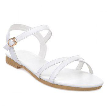 Simple PU Leather and Cross Straps Design Women's Sandals