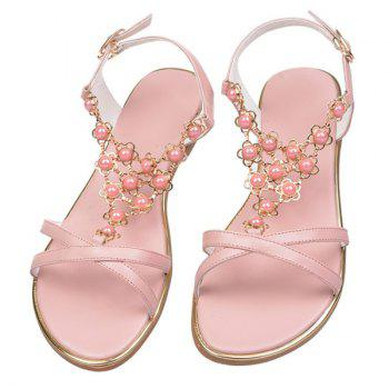 Sweet Cross Straps and Beading Design Women's Sandals - PINK 37