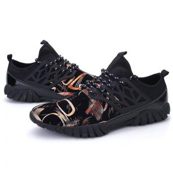 Leisure Lace-Up and Print Design Men's Athletic Shoes - GOLDEN GOLDEN