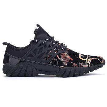 Leisure Lace-Up and Print Design Men's Athletic Shoes - 42 42