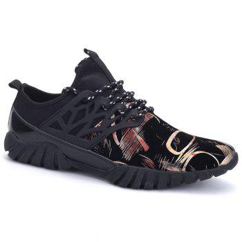 Leisure Lace-Up and Print Design Men's Athletic Shoes - GOLDEN 42
