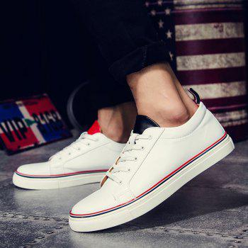 Simple Lace-Up and White Design Men's Casual Shoes - WHITE 44