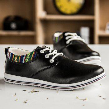 Trendy Tribal Print and Lace-Up Design Men's Casual Shoes - BLACK 43