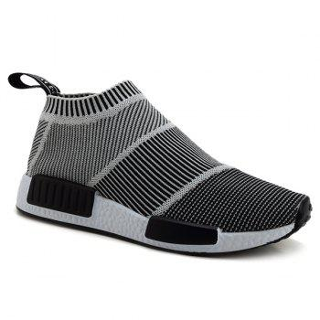 Buy Fashionable Colour Block Stripes Design Men's Casual Shoes GRAY