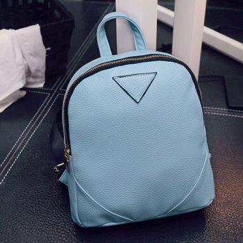 Trendy Inverted Triangle Pattern and PU Leather Design Women's Backpack - LIGHT BLUE