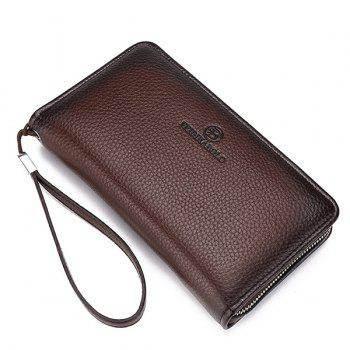 Fashionable Zip and PU Leather Design Men's Clutch Bag -  COFFEE