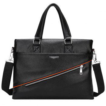 Trendy Zip and PU Leather Design Men's Briefcase