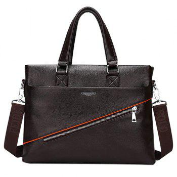 Trendy Zip and PU Leather Design Men's Briefcase - DEEP BROWN DEEP BROWN