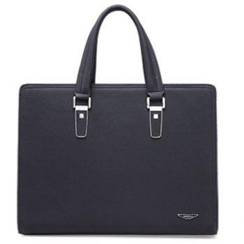 Trendy Metallic and PU Leather Design Men's Briefcase -  BLACK