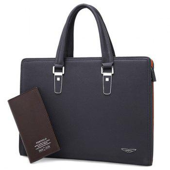 Trendy Metallic and PU Leather Design Men's Briefcase - BLACK BLACK