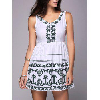 Sleeveless Cutout Embroidered Peasant Dress