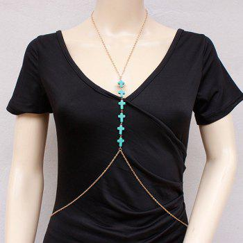 Elegant Faux Turquoise Cross Body Chain For Women