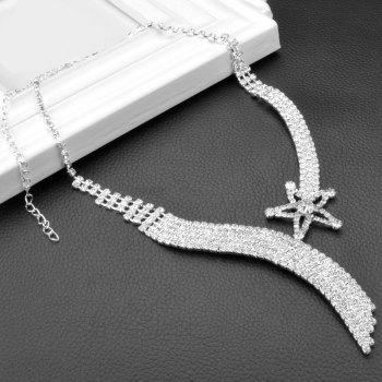 A Suit of Hollowed Faux Zircon Pentagram Necklace and Earrings - SILVER