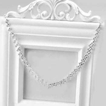 A Suit of Rectangle Faux Zircon Necklace and Earrings - SILVER