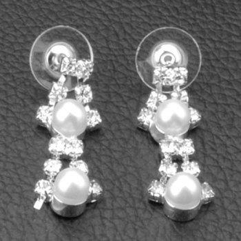 A Suit of Zircon Faux Pearl Hollow Out Necklace and Earrings - SILVER
