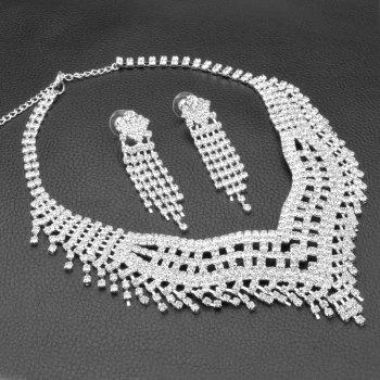 A Suit of Tassel Faux Zircon Necklace and Earrings - SILVER