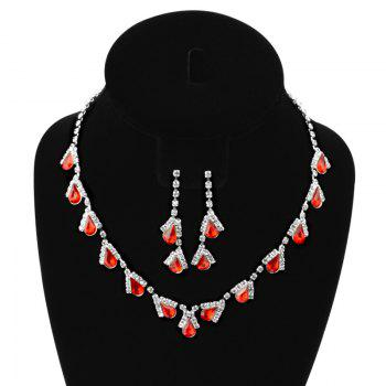 A Suit of Water Drop Faux Ruby Zircon Necklace and Earrings