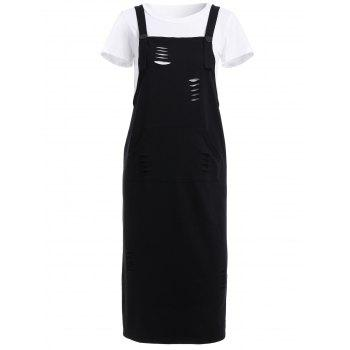 Casual White T-Shirt + Black Broken Hole Suspender Dress Women's Twinset