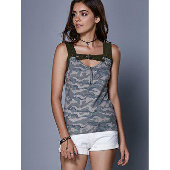 Trendy Camouflage Hollow Out Crop Top For Women - CAMOUFLAGE L