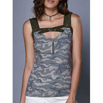 Trendy Camouflage Hollow Out Crop Top For Women
