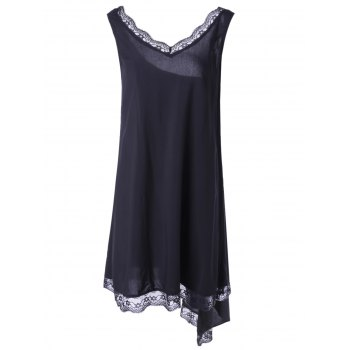 Fashionable Women's V-Neck Sleevesless Asymmetric Lace Dress