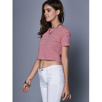 Stylish Women's Jewel Neck Short Sleeve Striped Criss Cross Crop Top - RED M