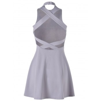 Fashionable Women's Stand Neck Backless Overlapping Sleeveless Flare Dress - LIGHT GRAY ONE SIZE(FIT SIZE XS TO M)