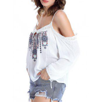Stylish Ethnic Print Cut Out Blouse For Women - WHITE XL