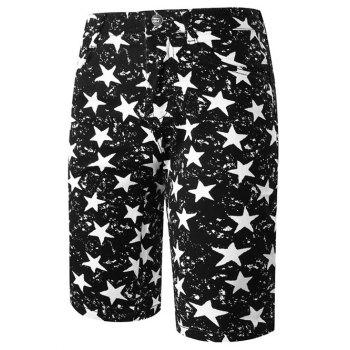 Stylish Straight Leg Pentagram Pattern Zipper Fly Men's Shorts