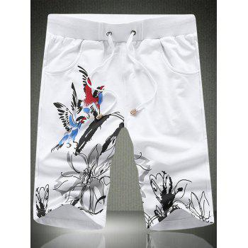 Men's Trendy Straight Leg Bird Printed Lace-Up Loose Shorts