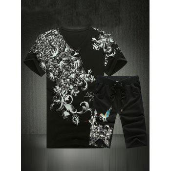 V-Neck Plus Size Chinese Style Flower and Birds Print Short Sleeve Men's Suit ( T-Shirt + Shorts ) - BLACK M