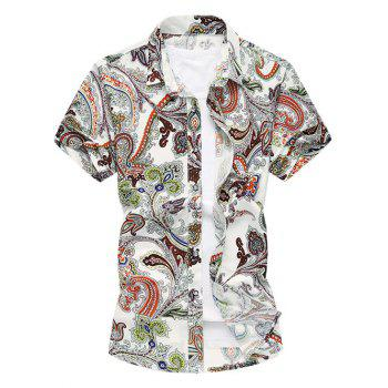 Turn-Down Collar Plus Size Paisley Flowers Print Short Sleeve Men's Shirt